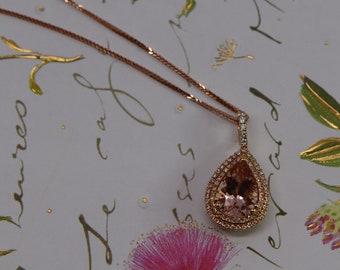 3.35CT Morganite Pendant - Rose Gold Pendant With Diamond Halo - TearDrop Pear Shaped