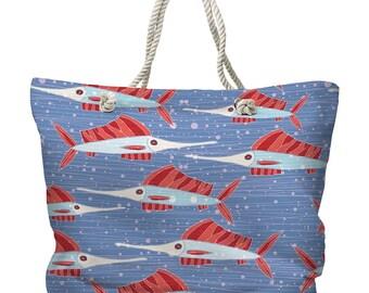 Sailfish School Coral Tote Bag, Beach Tote Bag, Coastal Tote Bag, Nautical Tote Bag