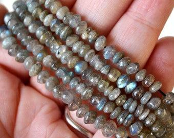 "Labradorite Saucer Beads 5-6mm wide Natural 13"" Strand Gemtstone Beads Spectrolite Grey with Rainbow Flash"