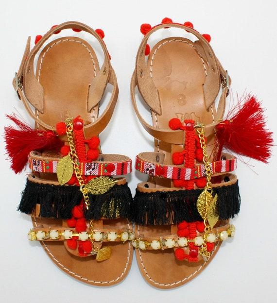 femme bohemian Blue blue sandalen sandals gladiator greek pompom sandales sandales sandals pompom pons pom leden sandals sandals AqpRTqFwY6
