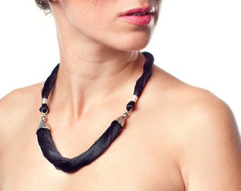 """Rutis soft jewelry, gray fiber 3 part neclace,   17"""" to 19"""" The Princesslength, presence neclace."""