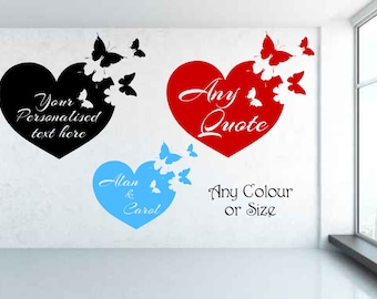 Love heart & personalised message or quote with butterflies wall sticker decal
