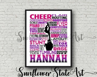 Cheerleading Poster, Personalized Cheerleader Art, Cheerleading Typography, Cheerleading Gift, Cheer Team Gift, Cheerleading Print