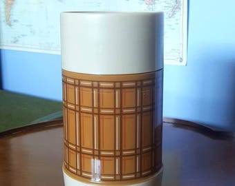 Vintage Aladdin Brown Plaid Thermos