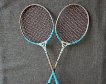 Vintage Badminton Rackets, Vintage Green Color, Circa 1950's