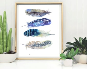 Feathers Print, Printable Feathers Art, Blue feathers art, Feather printable , digital download, feather Poster, digital print, boho print