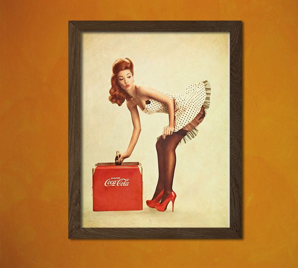 Coca Cola Advertising Pin Up Girl Print Pin Up Sexy Kitchen