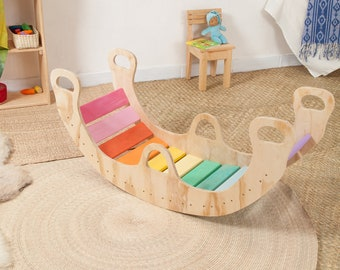 Double Pastel Rainbow Rocker/ Rainbow Balance Board/ Wooden Rocker/ Wiwiurka Rocker /balancing board, bridge, KIT