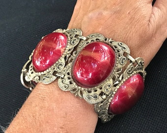 Vintage Burnt Orange Stones in Goldtone Bracelet