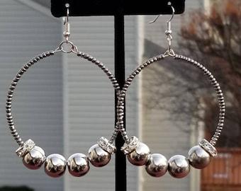 Hoop silver bead earrings