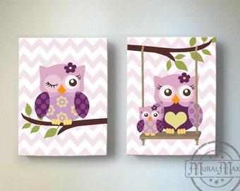 Toddler Girls Room Art Owl Nursery Wall Art Canvas Art Set Canvas Reproduction in Match with Plum Owl Meadow Nursery