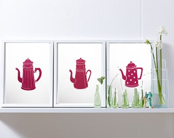 "Original Linocut hand print set of 3 red coffee pot ,Linoleum block print  numerated limited edition  - 8"" x 12"" wall art  -kitchen art"