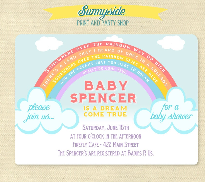Somewhere over the rainbow baby shower invitation rainbow zoom filmwisefo Image collections