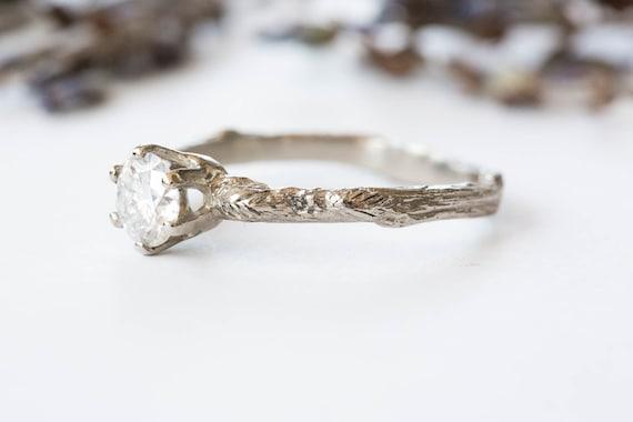 Moissanite 18k gold leaf engagement ring, rustic nature engagement ring, moissanite leaf engagement ring, alternative engagement ring