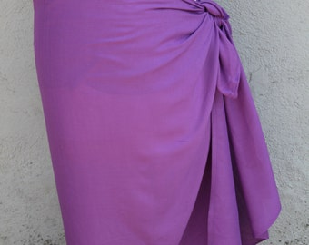 Grape purple  color-Pareo-solid color-full sized-rayon- sarong-sale, pareau, Tahitian costume, skirt