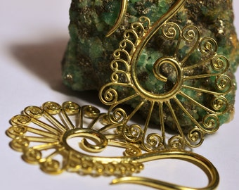 "Brass Spirals Earrings ""Peacock Piercing"""