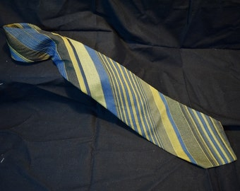 Vintage Ernst Union Made Green and Blue Striped Tie