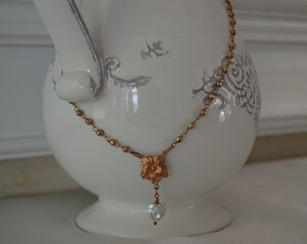 Heart N Hibiscus Flower Charmed Necklace
