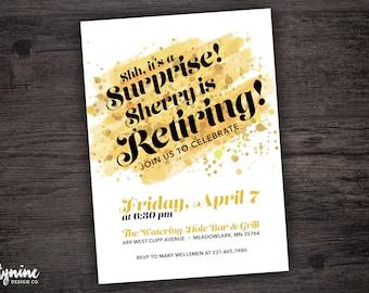 Shhh It's A Surprise Party Watercolor Invitation