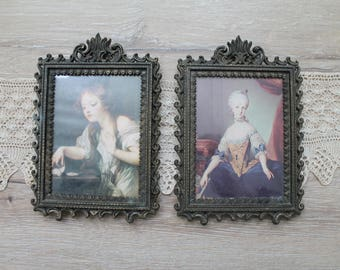 50s midcentury Italian frames with art prints, set of two