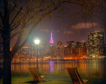 NYC Art Print, Wall Art, New York City Photography, Pink, Empire State ,  Graphic, City lights, LIC, East River