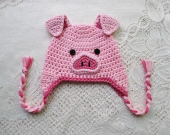 READY TO SHIP - 6 to 12 Month Size - Crochet Pig Hat - Farm Animals - Winter Hat or Photo Prop