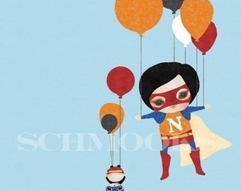 Children Art Print Boy Balloons - 'Lift off'