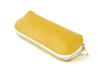 Yellow Leather Glasses Sunglasses Case Handmade Pouch Wallet