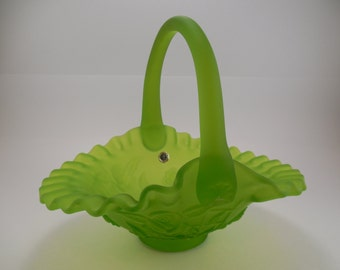 Vintage Westmoreland Rose and Trellis Pattern, Satin Green Glass Basket, Circa 1960's