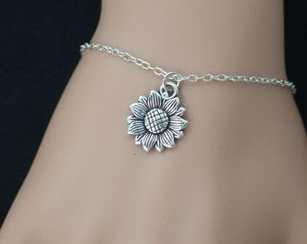 Sunflower bracelet, sterling silver filled, bridesmaids gifts, silver flower charm, mothers gift, flower girl jewelry, adjustable bracelet