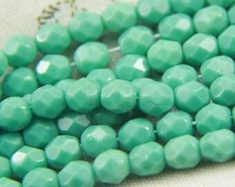 25 pcs strand of Czech glass polished beads-6mm-9017-Turquoise  blue