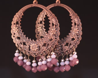 Copper Chandelier Earrings