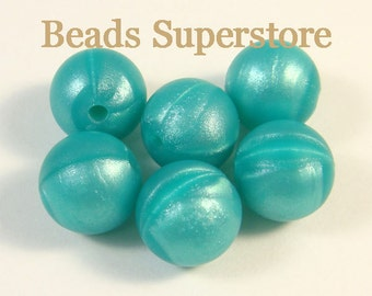 12 mm Turquoise Metallic Silicone Round Bead - Teething Necklace Silicone Bead - 10 pcs (12ROU31)