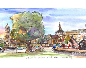 """The Plaza and JC Nichols Fountain Kansas City Panoramic format 30""""x9"""" PRINT from original Ink and watercolor painting Created by Liz Vargas"""
