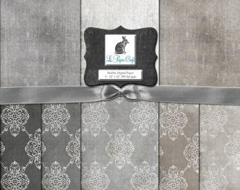 """Neutral Damask & Solids Digital Background Paper Set - Scrapbook Paper - Collage Paper (12 """"x 12"""" 300dpi) Instant Download - 8 JPG Files"""