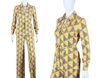Diane Von Furstenberg Jumpsuit 70s 2 Piece Set 1970s Top and Bell Bottoms DVF Iconic Print Set