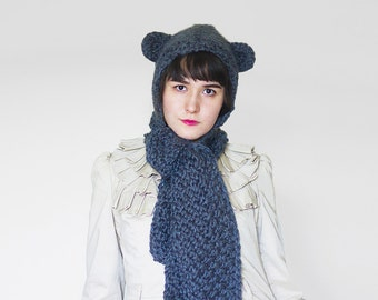 Knit Hooded Scarf with Animal Ears - Knitted Scoodie - Winter Hoodie in Charcoal- Hand Knit Scarf with Hood and Ears | The Pluto Scarf |