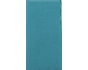 MAC&LOU Calfskin Leather Bifold Wallet Blue