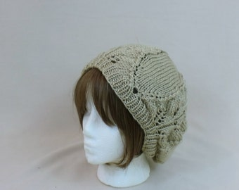 Slouchy Hat - Beige Slouch Oversized Beanie  - Tan Cream Dread Hat - Off White Hair Cover Beret - Camel Slouch Headwear - Bad Hair Day Tam