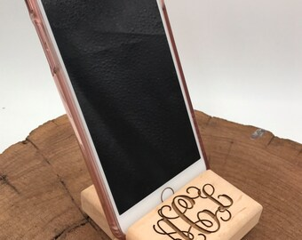 Personalized Monogrammed Engraved Wood Cell Phone Stand holder for Desk / Nightstand Iphone Droid