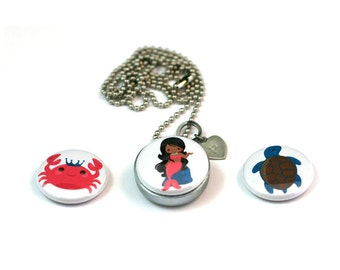 Mermaid Locket Necklace, African American Girl, Young Girl Gift, Magnetic, 3 Lockets in 1, Sea Turtle and Crab Designs, Recycled Steel