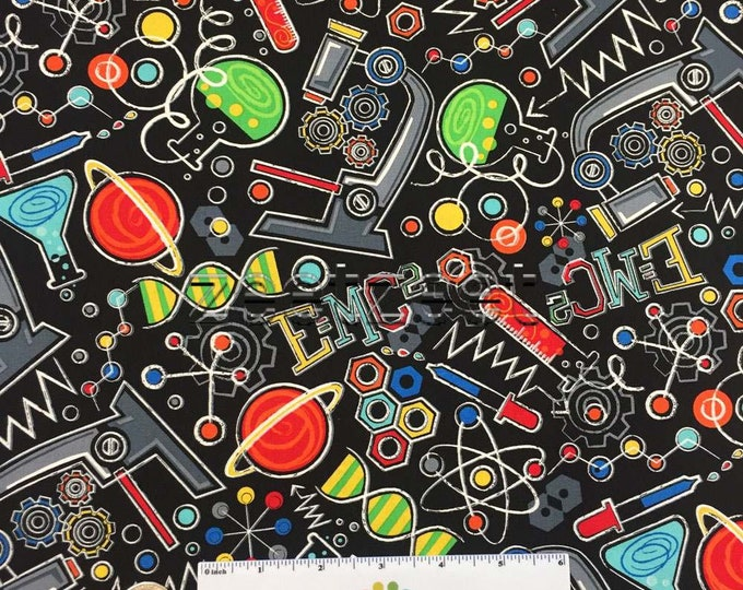 CHEMISTRY MATH Black Multi Cotton SCIENCE Fabric by the Yard, Half Yd or Fat Quarter Scientific Method Nerd Geek Stem School Atom Microscope