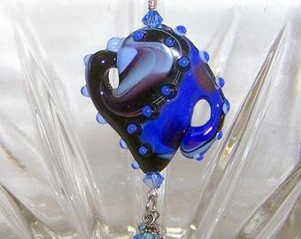 lampwork bead pendant, cobalt blue glass, teapot necklace, dangle pendant, glass jewelry, Julie VanEmber glass, crystal accent necklace