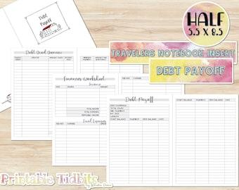 Printable Half Travelers Notebook Insert - Debt Payoff TN Insert - Printable Planner Insert - TN Insert - Debt Snowball