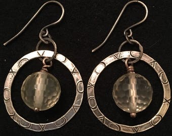 Fused and hammered fine silver with sterling wires and lemon quartz. Xoxo