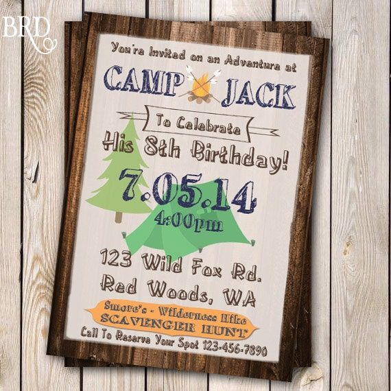 Camping Theme Invitations: Camping Invitation Campout Party Invitation Campout Birthday