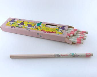 Cute kawaii vintage Japanese pencils set Tombow Tiny Pixies - HB pencils [4135 - pencils in a box of 12][Japan stationery] [vintage pencils]