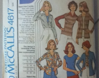 "McCall's Vintage Top, Cardgan & Shirt Pattern 4617  Size: 10-14, Bust 31""-36"", Waist 25""-28"", Hip 34""-38"""