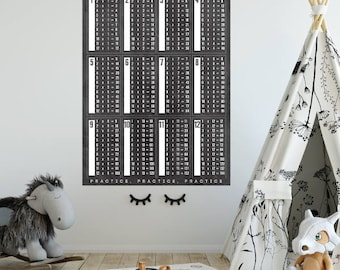 Times table chart | Educational chart | Back to school | instant download | children bedroom decor| Chalkboard black