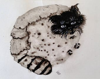 Cat in black, ink and wash